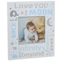 Love You to the Moon and Back Baby Picture Photo Frame Baby Boy Blue